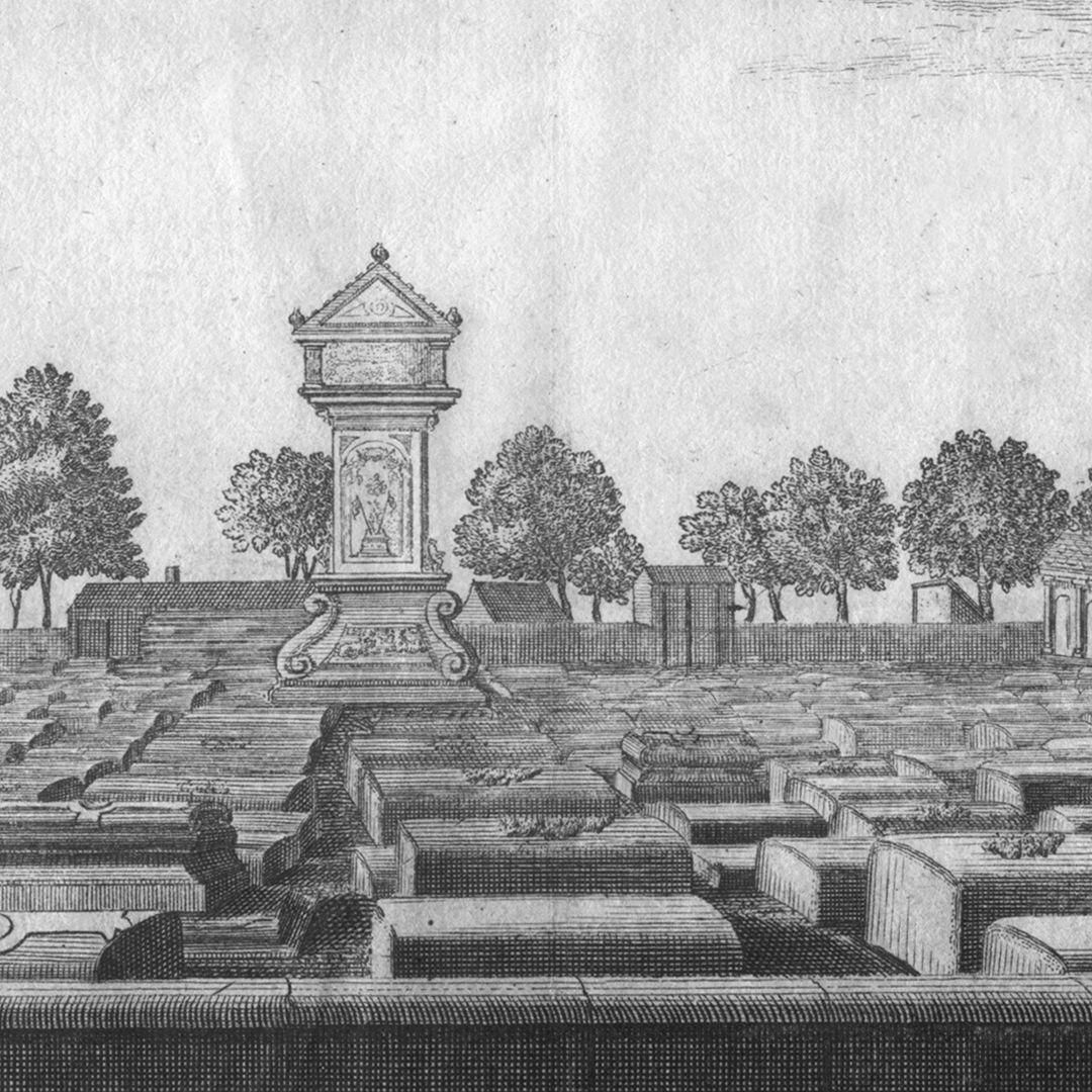 """""""Der große und vordere Kirchhof oder Gottesacker zu St. Johannis, 1/4 Stunde von Nürnberg"""" Detailansicht mit der Münzerschen Stele"""