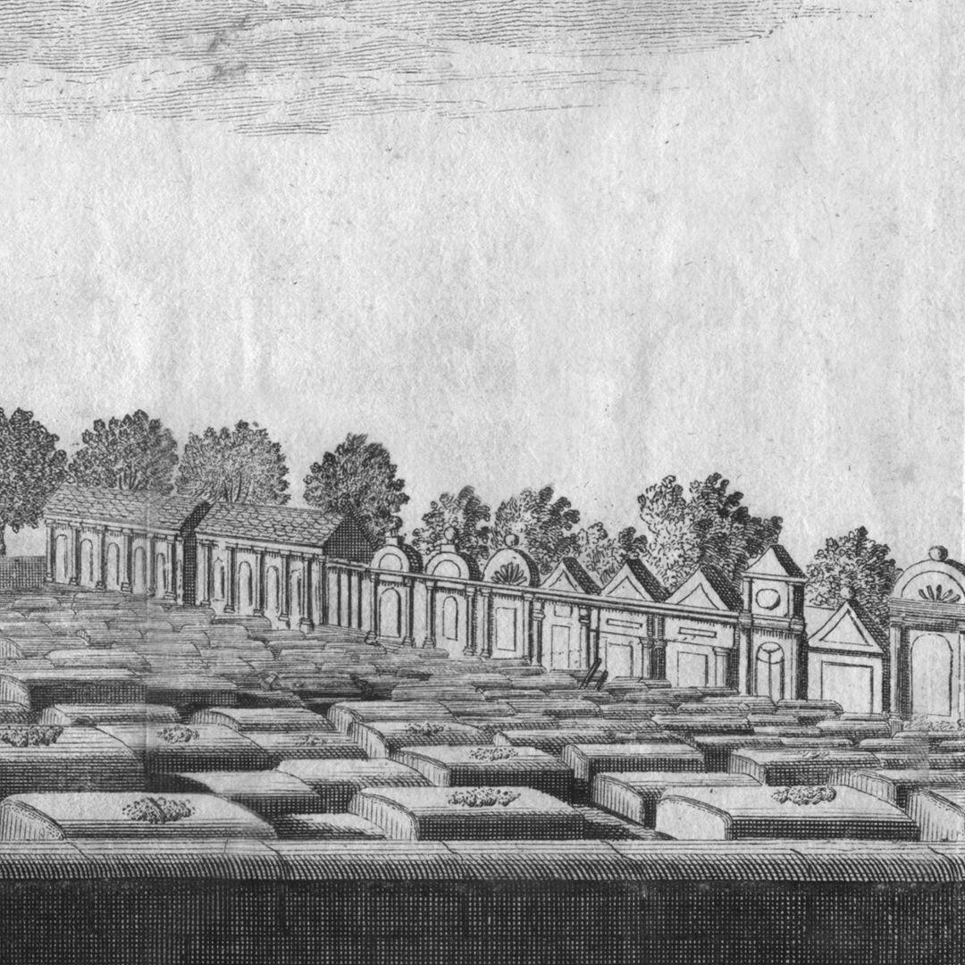 """""""Der große und vordere Kirchhof oder Gottesacker zu St. Johannis, 1/4 Stunde von Nürnberg"""" Friedhofsgrenze"""