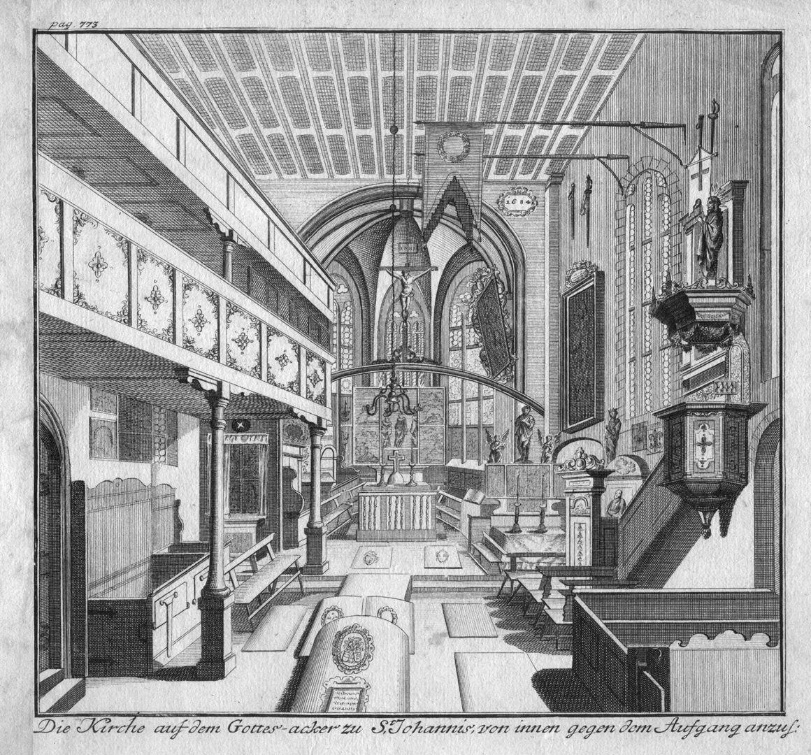 """""""Die Kirche auf dem Gottes-acker zu St. Johannis..."""" Innenraum nach Osten"""