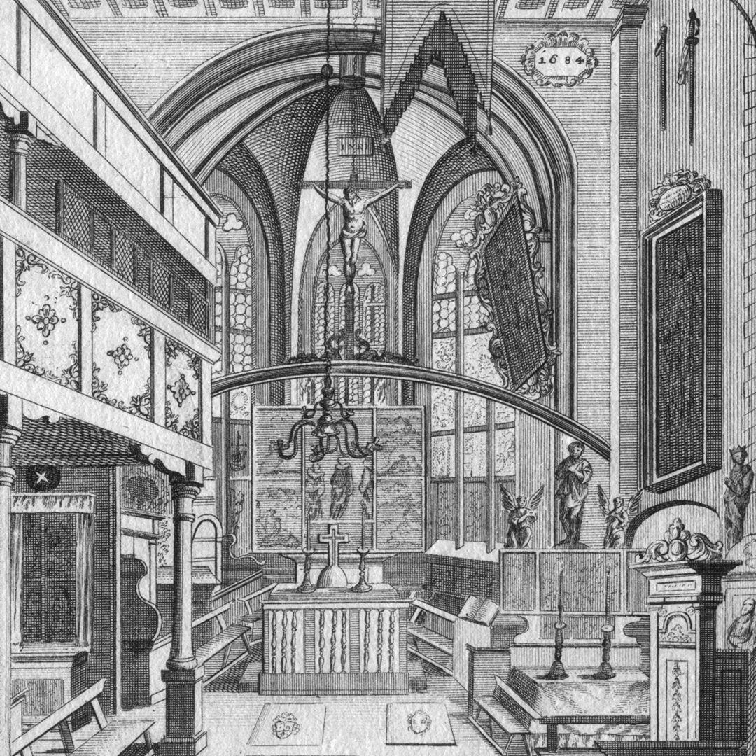 """""""Die Kirche auf dem Gottes-acker zu St. Johannis..."""" Detail, Chorraum"""
