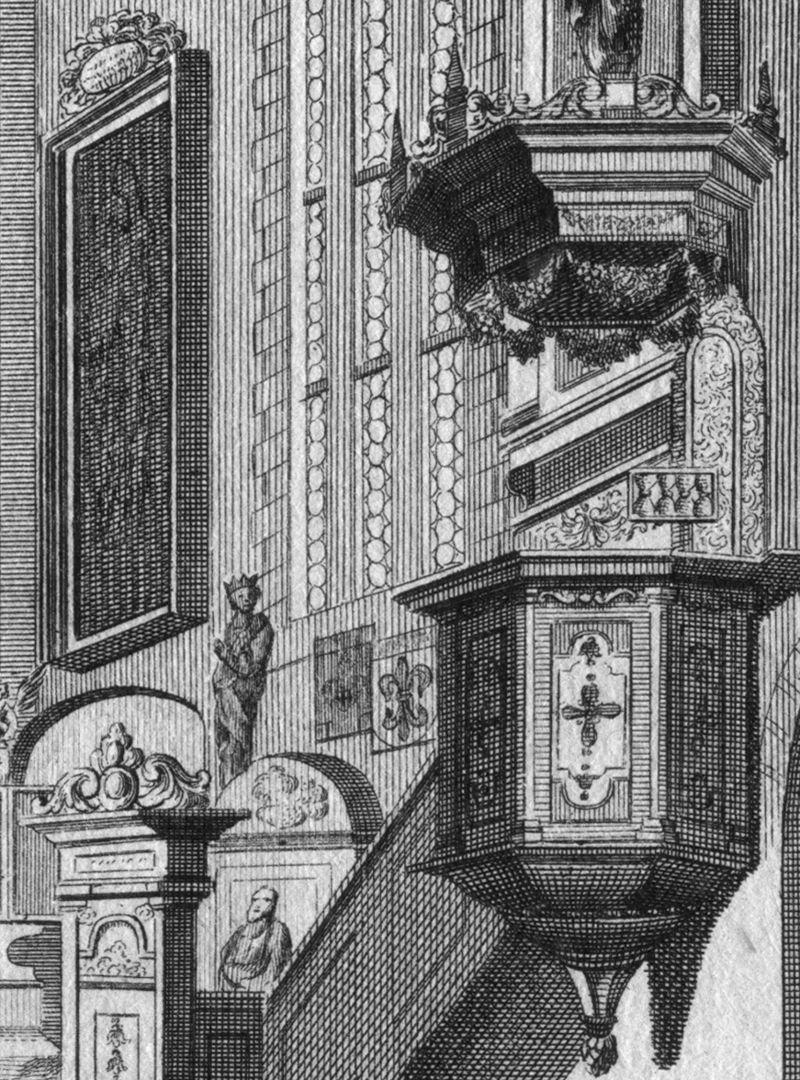 """""""Die Kirche auf dem Gottes-acker zu St. Johannis..."""" Detail mit Kanzel und Predigtuhr"""