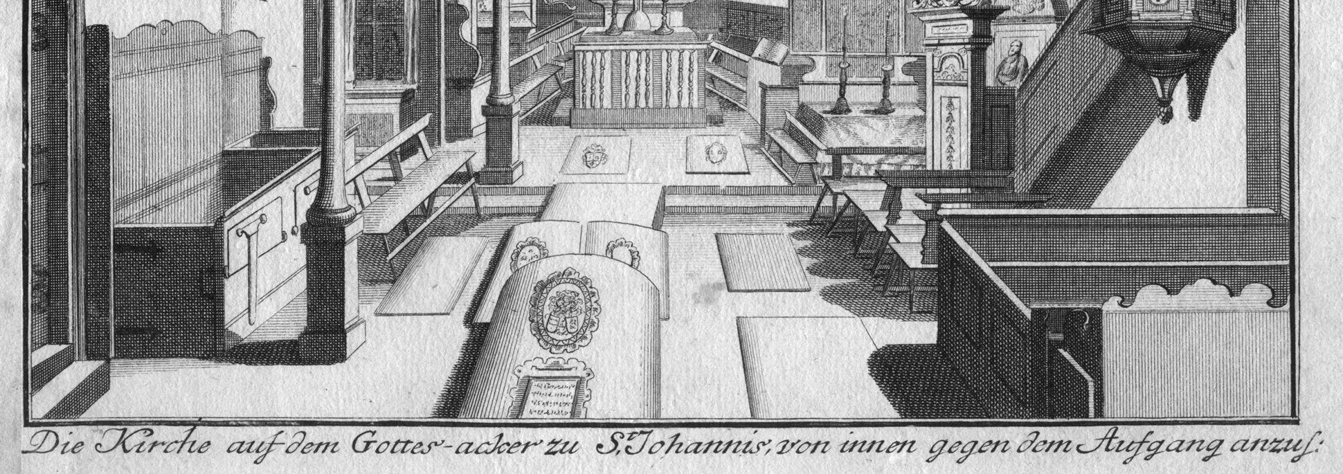 """""""Die Kirche auf dem Gottes-acker zu St. Johannis..."""" Kirchenfußboden mit eingelassenen Grabplatten und Bildlegende"""