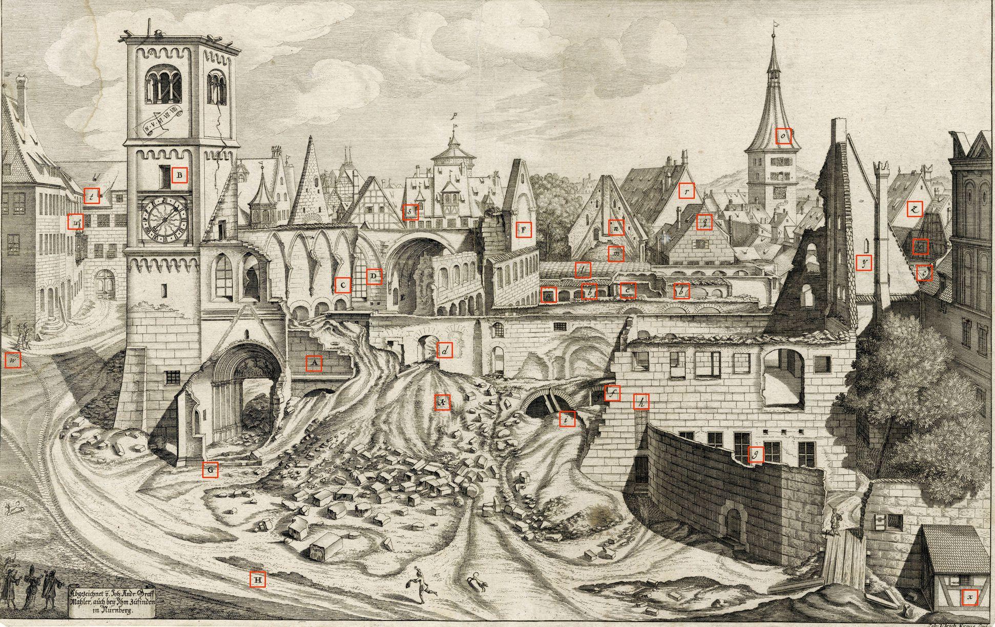 """""""Urbis Norimbergensis Insigniorum Templorum …"""" Ruine der Egidienkirche Blatt mit Markierungen"""