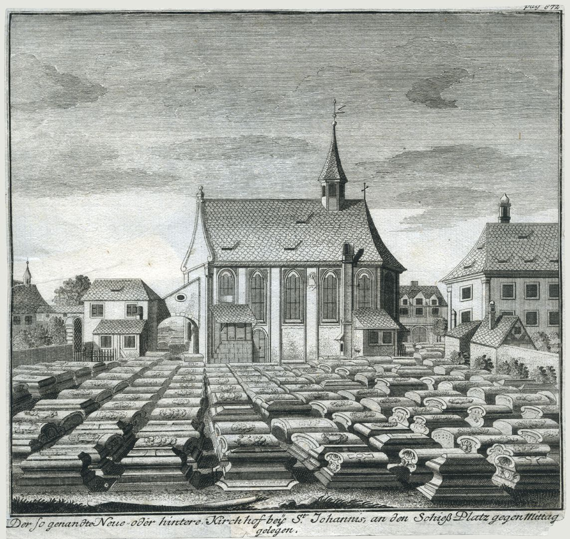 """""""Der so genandte Neue oder hintere Kirchhof beÿ St. Johannis..."""" Gesamtblatt mit Gräberfeld, der Johanniskirche und dem nach 1855 abgebrochenem Pfarrhaus"""