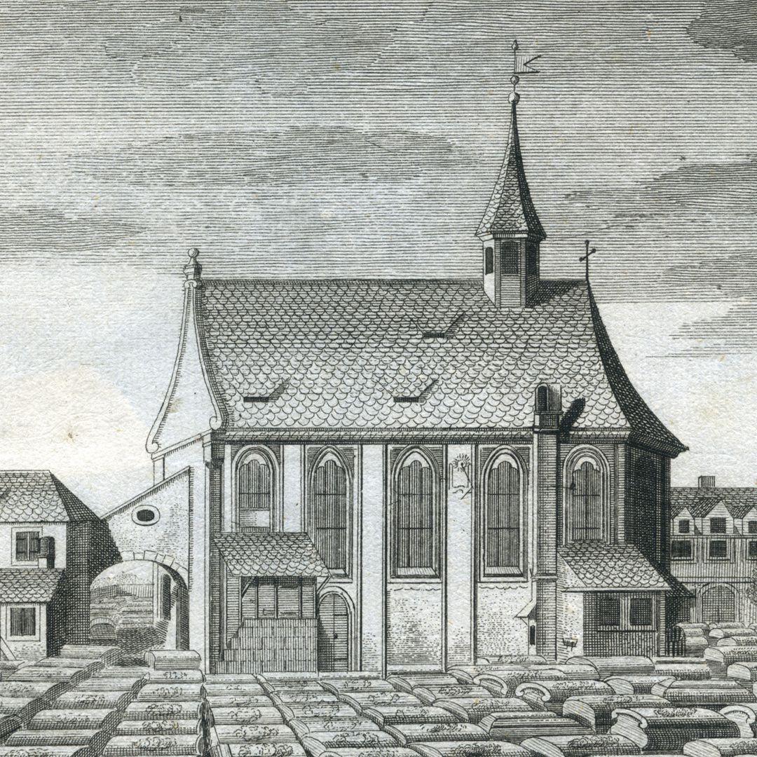 """""""Der so genandte Neue oder hintere Kirchhof beÿ St. Johannis..."""" Johanniskirche von Süden"""