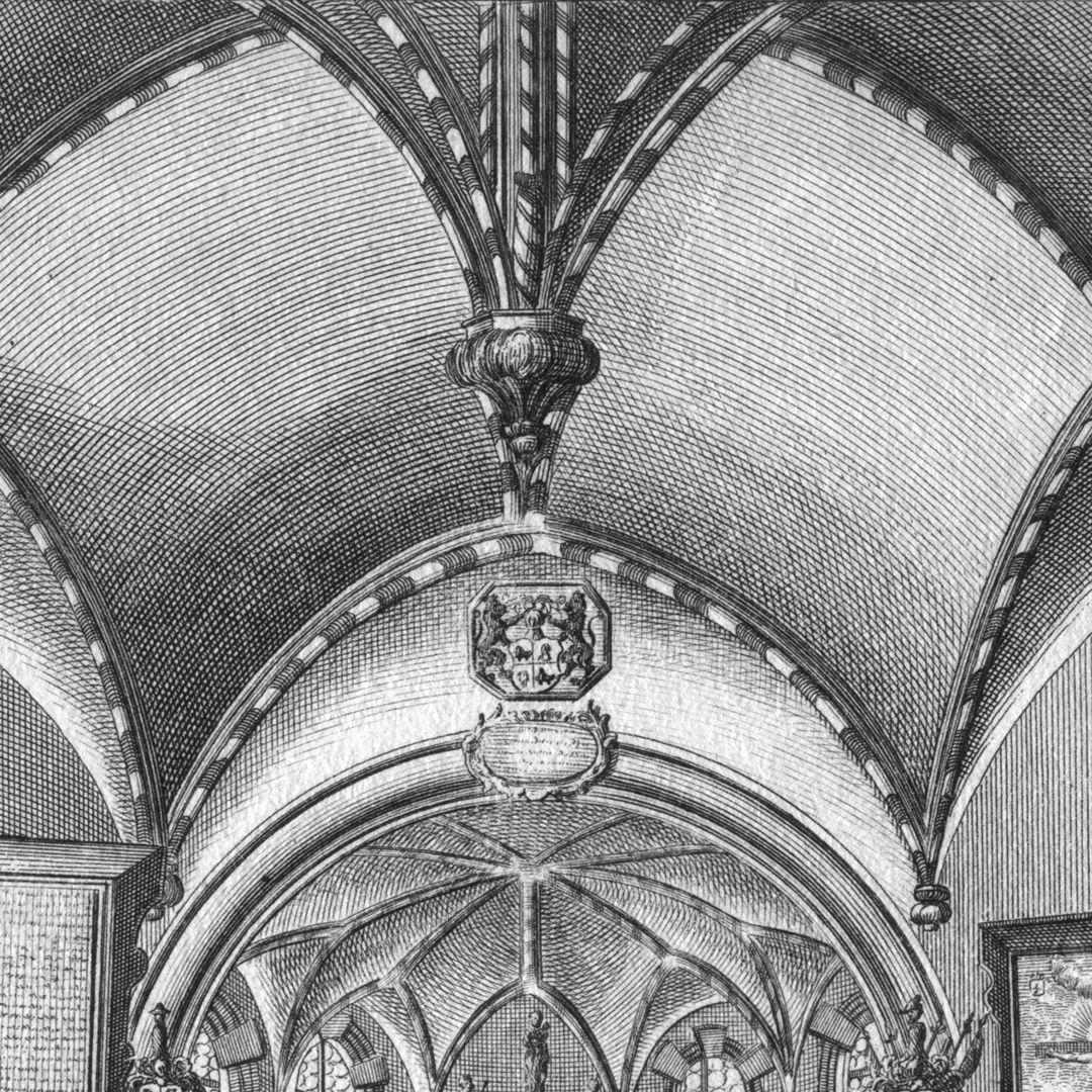 """""""Di Hoch-Adeliche Holtzschuherische Stiefftungs-Capelle..."""" Gewölbedetail mit hängendem Schlussstein, man beachte die unrichtige Darstellung der tatsächlichen Luftrippen"""