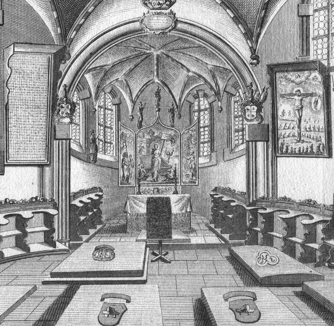 """""""Di Hoch-Adeliche Holtzschuherische Stiefftungs-Capelle..."""" Detail mit Gräbern und Chor"""