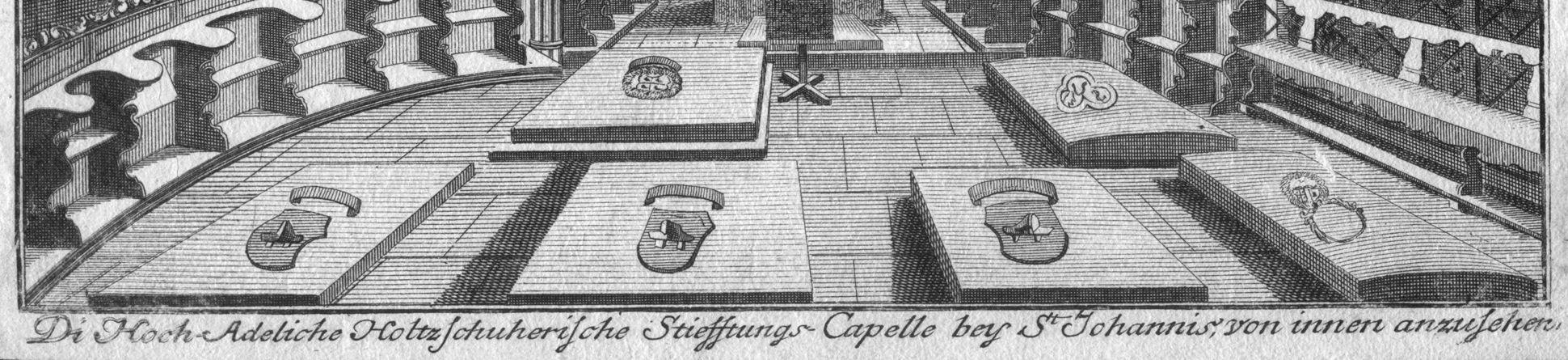 """""""Di Hoch-Adeliche Holtzschuherische Stiefftungs-Capelle..."""" Kirchenfußboden und Bildlegende"""