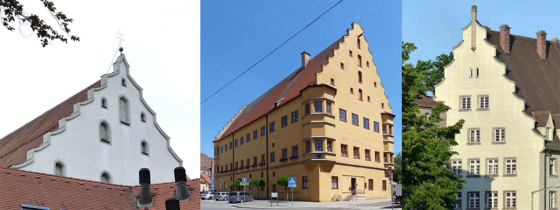 Selbstanschlussamt Giebelgenealogie, von l. nach r.: Augsburg, kath. Heilig-Kreuz-Kirche (1502-1508), Nördlingen Hallhaus (1541-1544), Nürnberg Selbstanschlussamt
