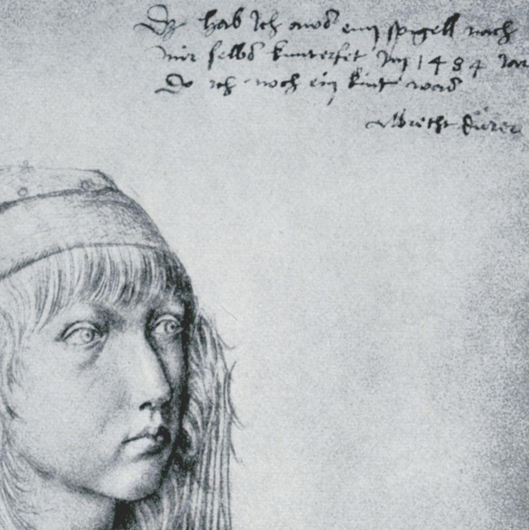 Selbstbildnis Das hab Ich aws eim spigell nach mir selbs kunterfet Im 1484 Iar. Do ich noch ein kint was. Albrecht Dürer