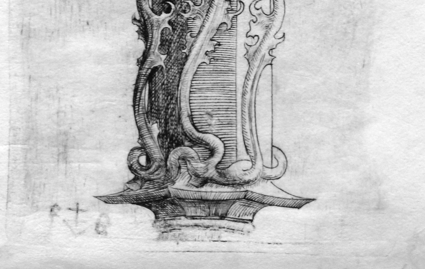 Spätgotische Konsole Untere Bildhälfte mit Künstlersignatur