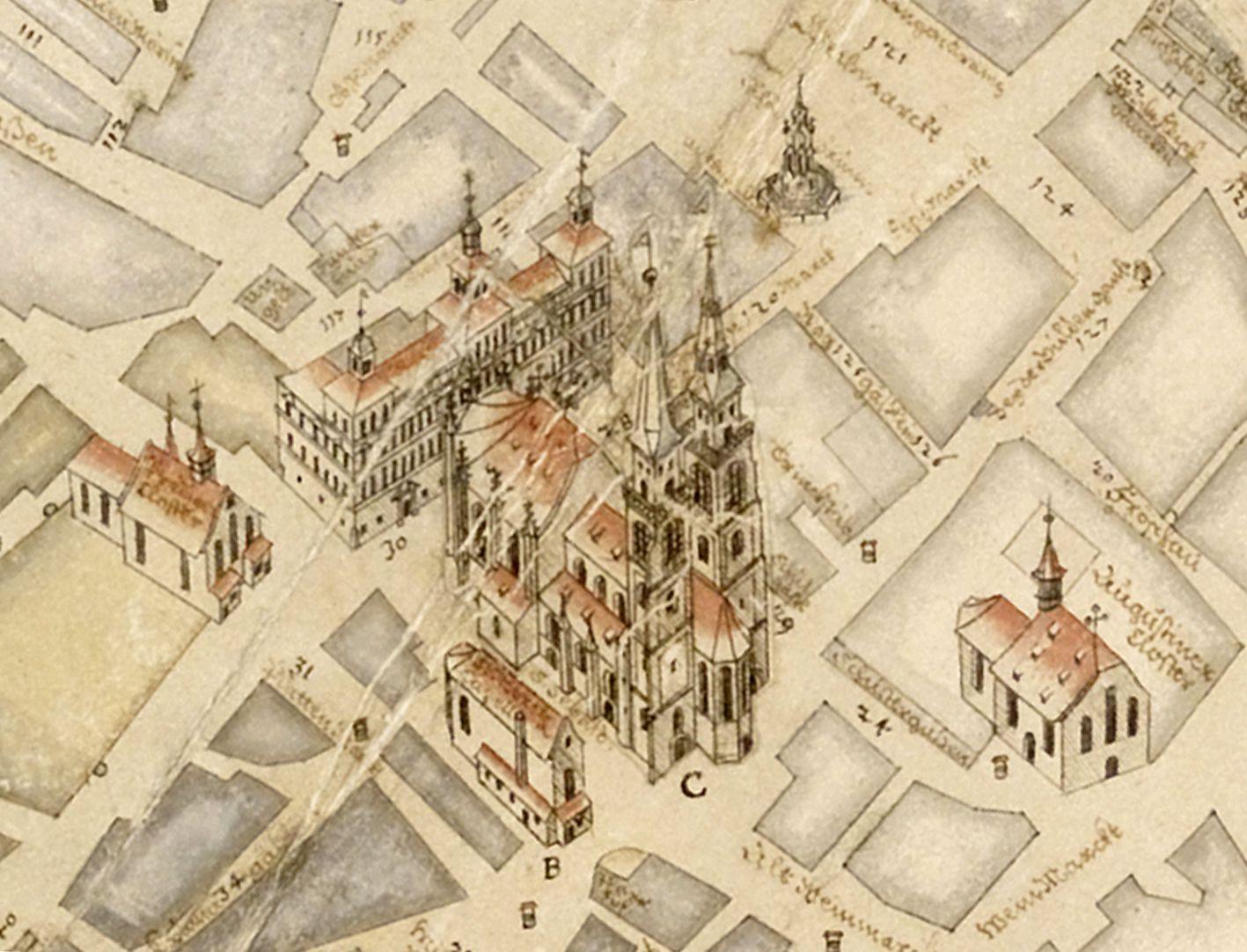 Prospekt aus der Vogelschau auf die Senkrechte gebrachtes Detail mit von rechts nach links: Augustinerkirche, Schöner Brunnen, Sankt Sebald, Moritzkapelle, Rathaus und Dominikanerkirche