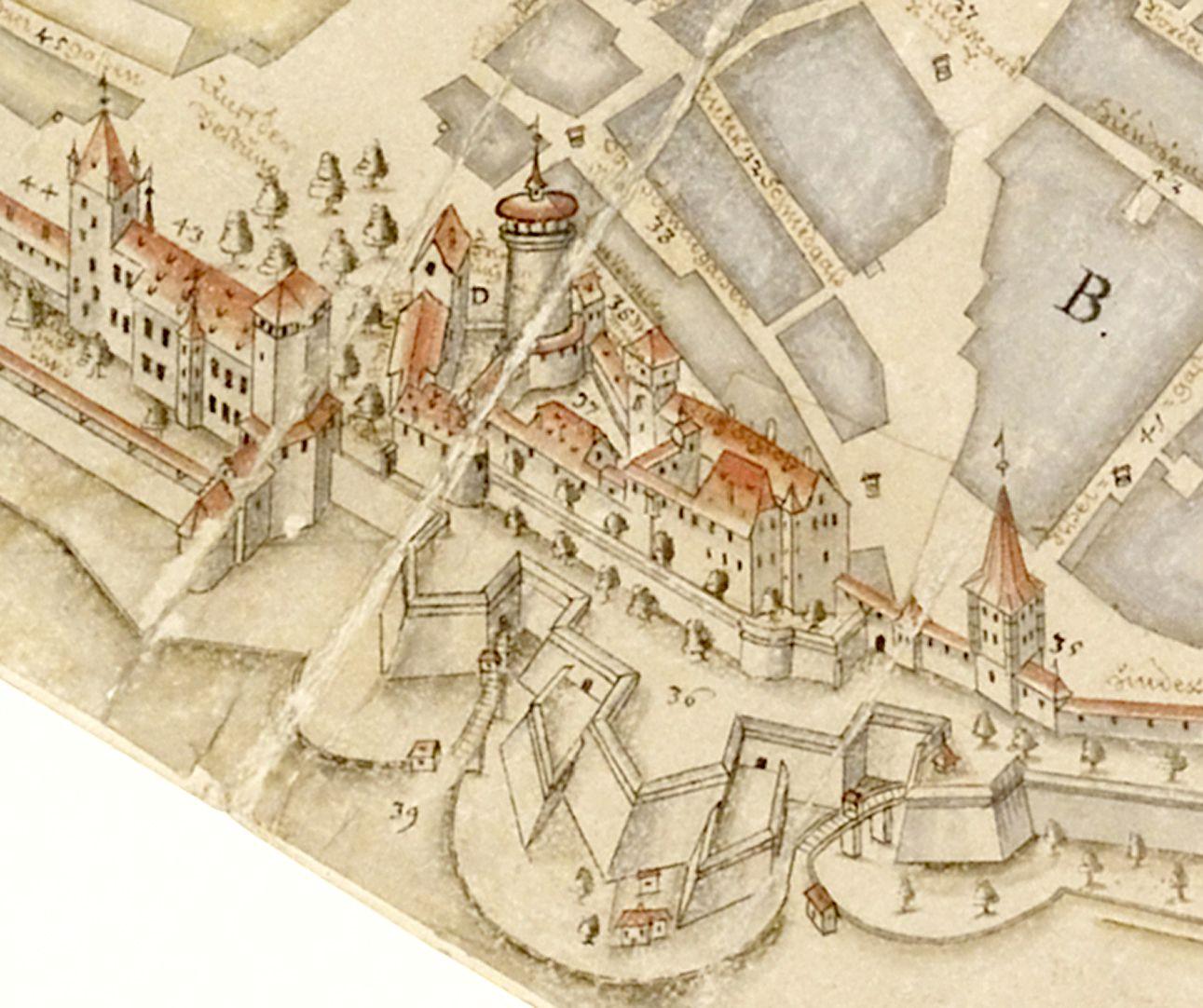 Prospekt aus der Vogelschau auf die Senkrechte gebrachtes Detail mit Burgbereich samt Basteien