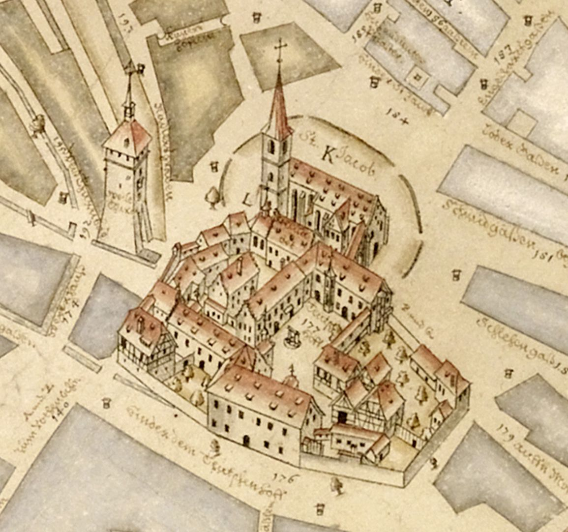 Prospekt aus der Vogelschau auf die Senkrechte gebrachtes Detail der Deutschordenskommende samt Weißen Turm