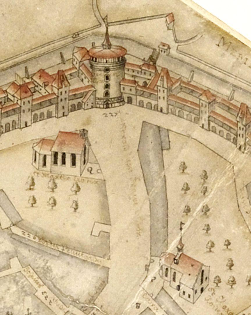 Prospekt aus der Vogelschau auf die Senkrechte gebrachtes Detail mit Königstraße: St. Klara unten rechts, St. Martha oben links und Frauentor oben Mitte