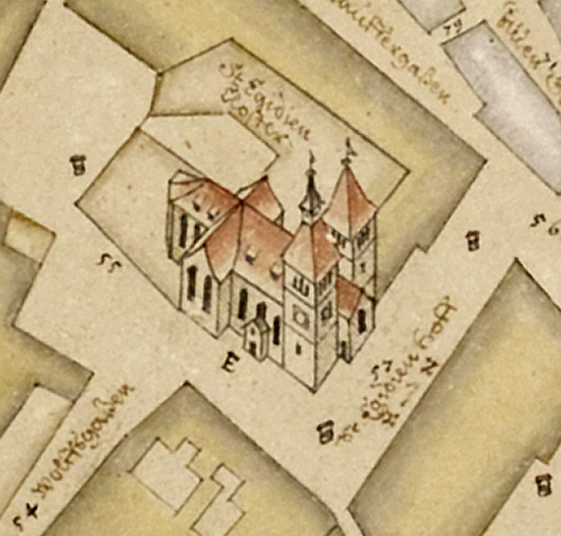 Prospekt aus der Vogelschau auf die Senkrechte gebrachtes Detail mit der romanischen Egidienkirche