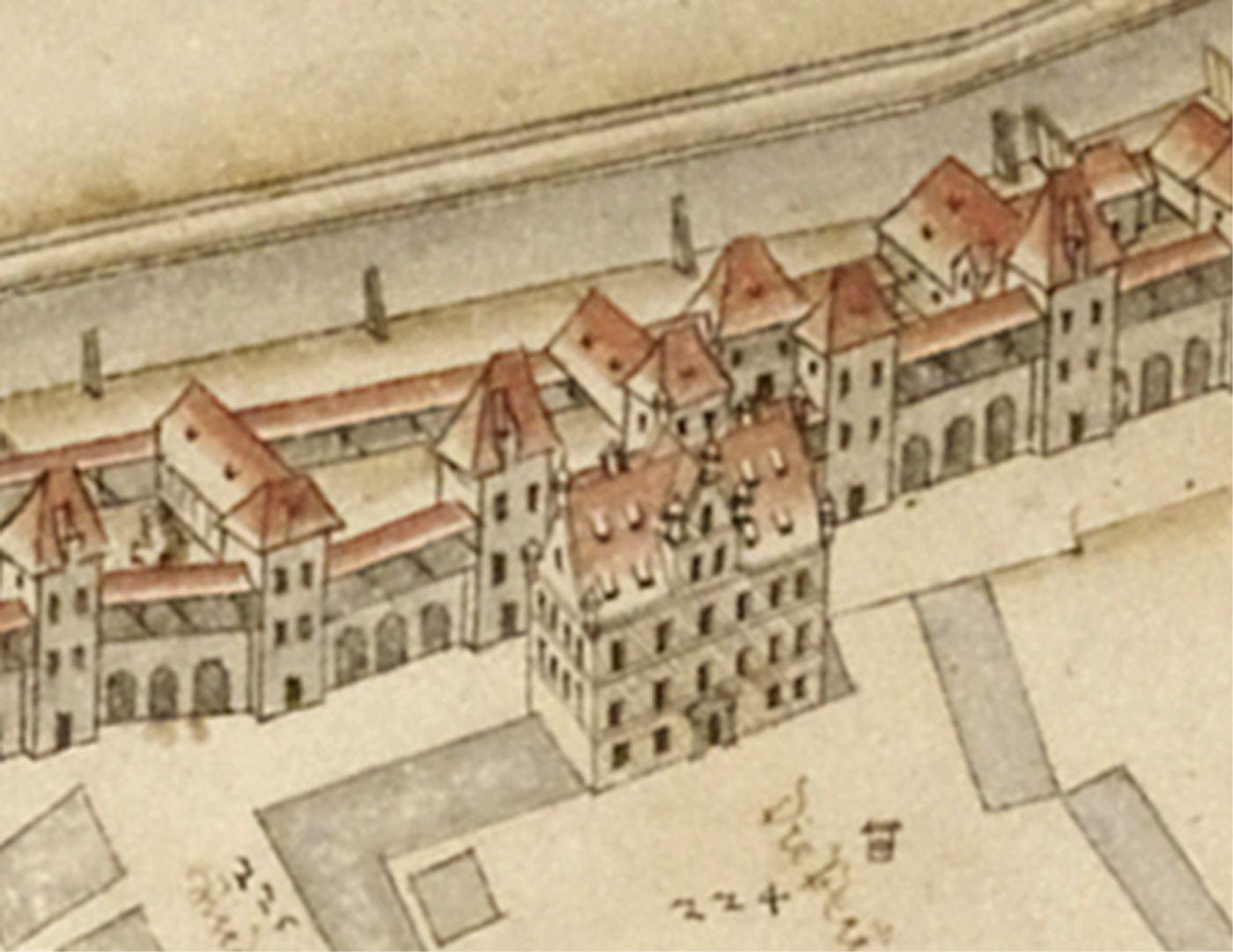 Prospekt aus der Vogelschau auf die Senkrechte gebrachtes Detail der Peunt mit Baumeisterhaus