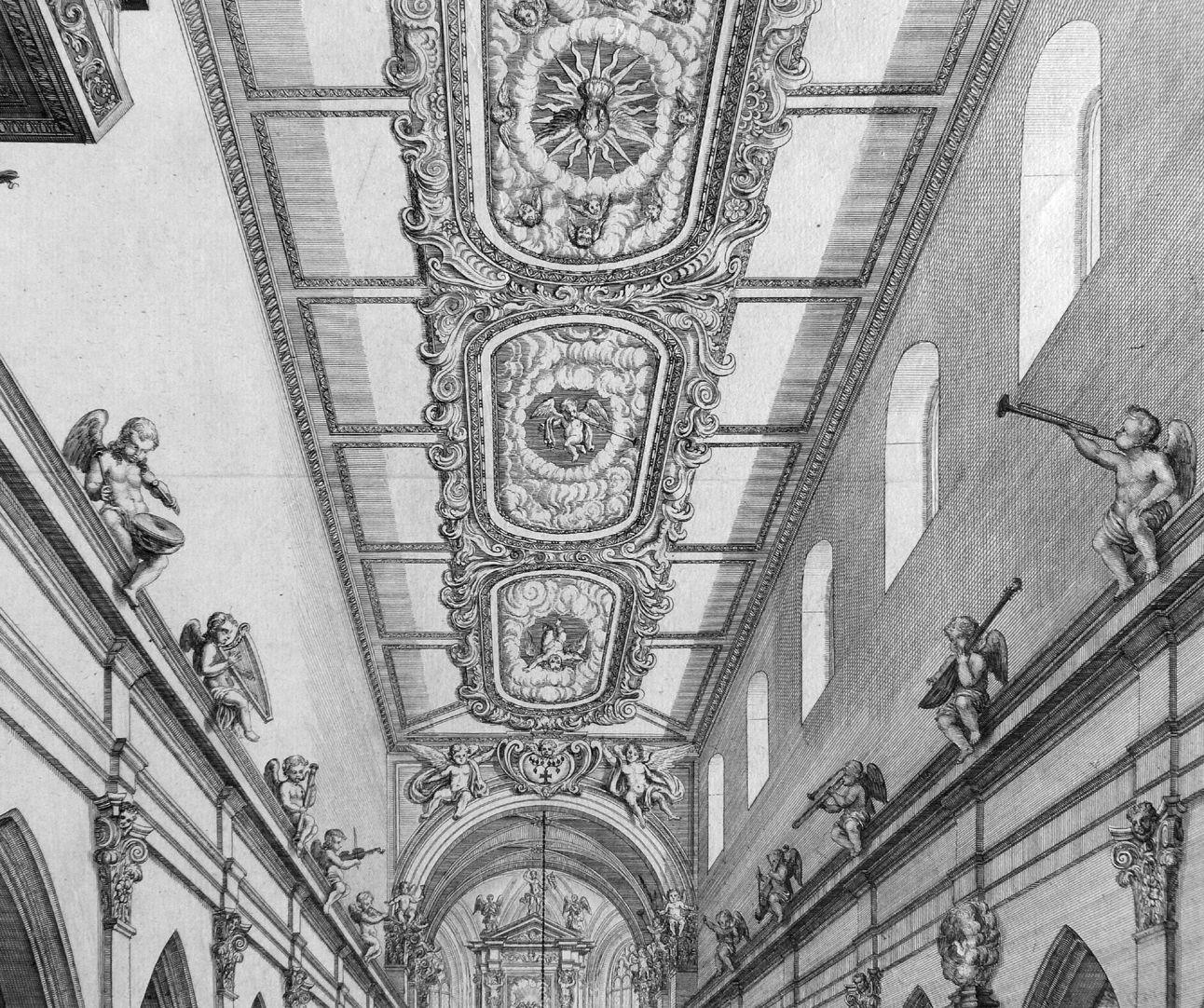 """Urbis Norimbergensis Insigniorum Templorum …"" Spitalkirche Barockdecke im Langhaus"
