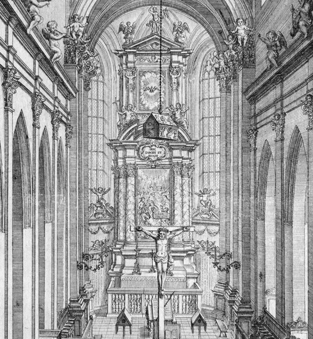 """""""Urbis Norimbergensis Insigniorum Templorum …"""" Spitalkirche Blick in den Chor, mit dem von der Decke hängendem Schrein der Reichskleinodien"""