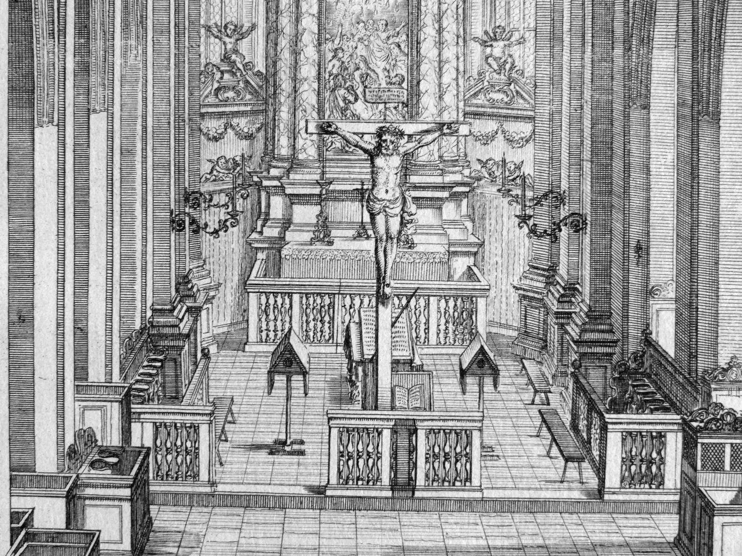 """Urbis Norimbergensis Insigniorum Templorum …"" Spitalkirche Blick in den Chorrraum"