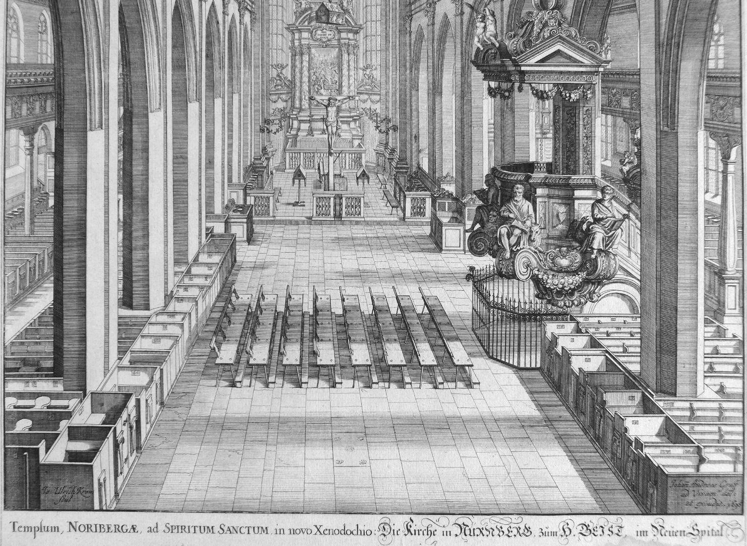 """Urbis Norimbergensis Insigniorum Templorum …"" Spitalkirche Blick in das Langhaus"
