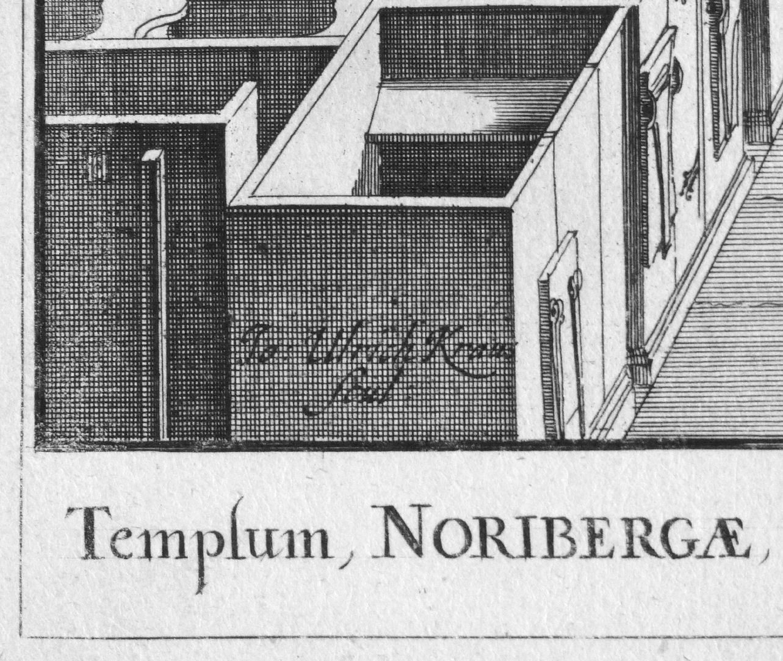 """""""Urbis Norimbergensis Insigniorum Templorum …"""" Spitalkirche linke untere Bildecke, scul(psit): """"er hat es geschnitzt (gestochen)"""""""
