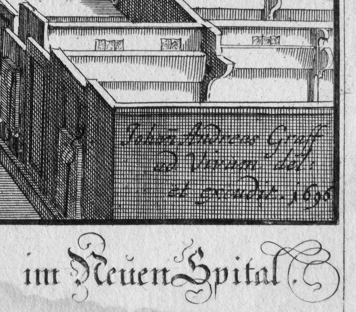 """""""Urbis Norimbergensis Insigniorum Templorum …"""" Spitalkirche rechte untere Bildecke, excudit: """" hat (es) verfertigt"""""""