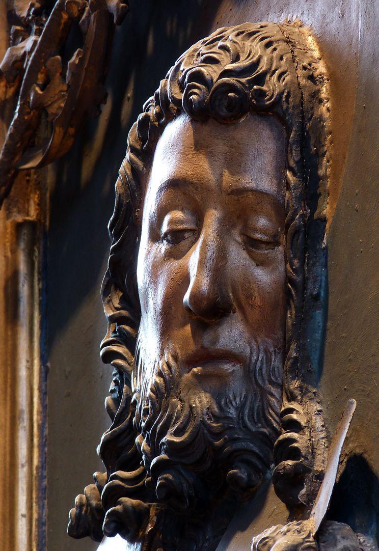 St. Bartholomäus, Hochaltar Linke Flügelinnenseite, Johannes d.T., Kopf, Schrägansicht