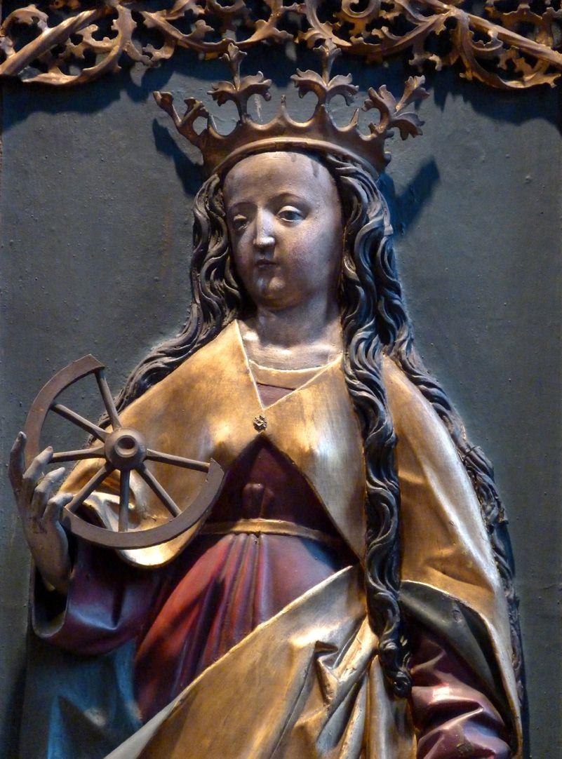 St. Bartholomäus, Hochaltar Rechte Flügelinnenseite, Katharina mit dem Rad