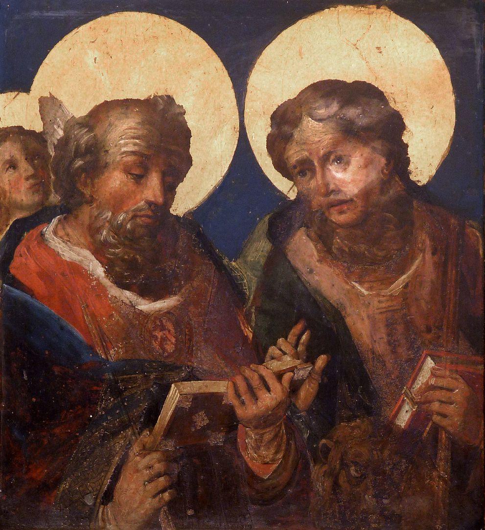St. Bartholomäus, Hochaltar Linker Predellaflügel, Innenseite, Matthäus und Markus (Übermalung von 1701)