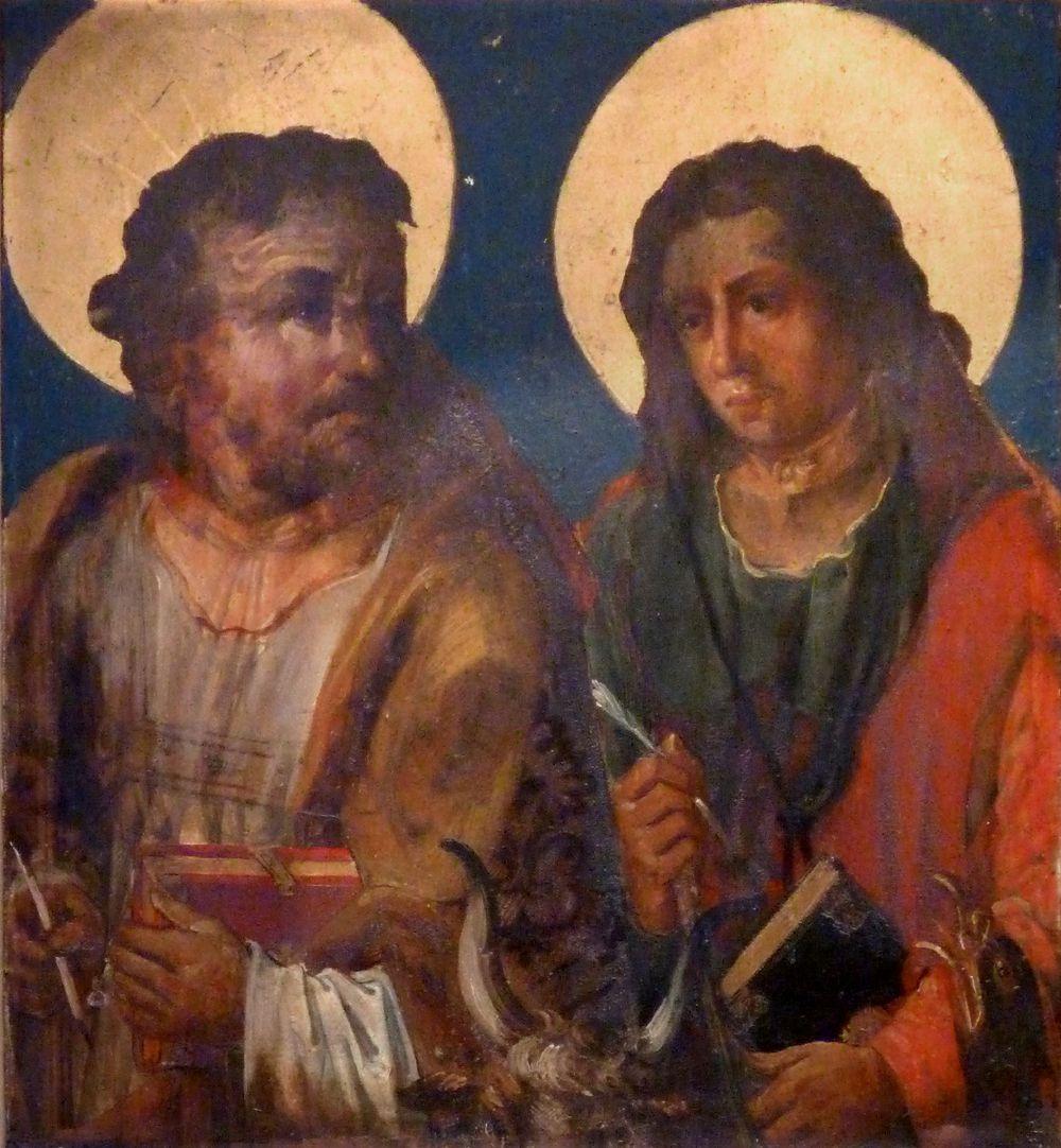 St. Bartholomäus, Hochaltar Rechter Predellaflügel, Innenseite, Lukas und Johannes (Übermalung von 1701)