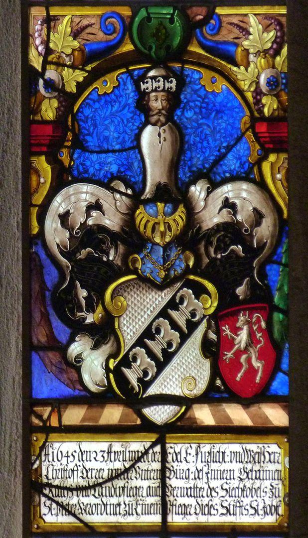 St.Jobst Glasgemälde im Chor, Wappenscheibe des Pflegers Christoff Derer mit Helmzier und Beischild Scheurl, Innenarchitekturrahmung und Innschriftkartusche, 1645
