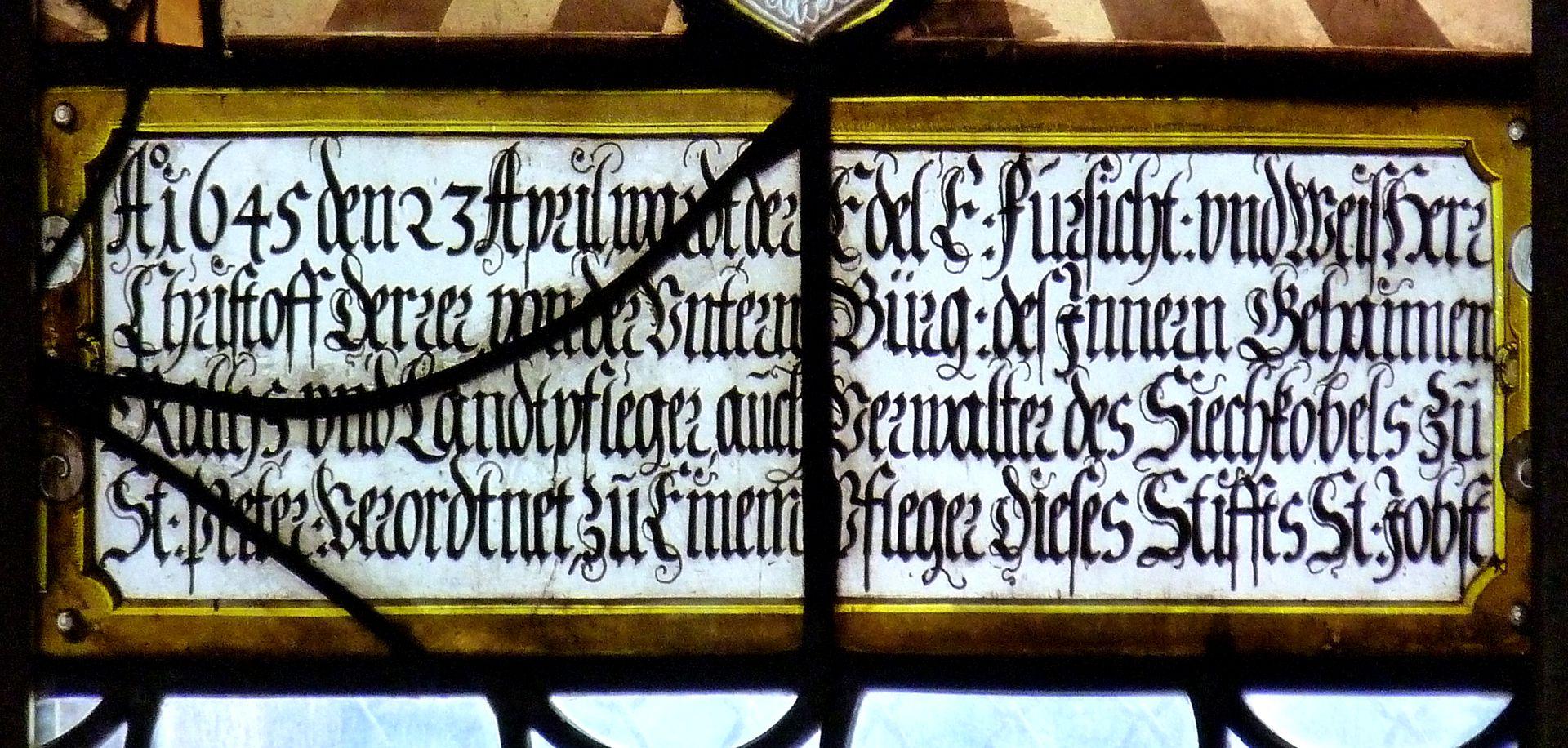 St.Jobst Glasgemälde im Chor, Wappenscheibe des Pflegers Christoff Derer, Innschriftkartusche, 1645