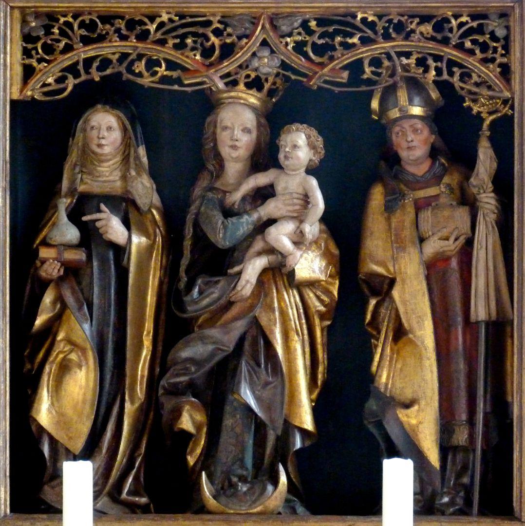 St.Jobst Ottmaraltar, Schrein, Maria mit dem Kinde zwischen der heiligen Walburga und dem heiligen Ottmar, Umkreis des Veit Stoss, nach 1500