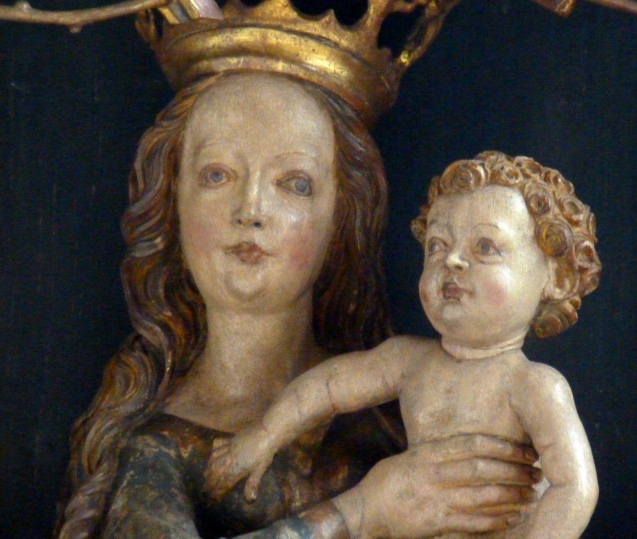 St.Jobst Ottmaraltar, Schrein, Detail der Maria mit dem Kinde, Umkreis des Veit Stoss, nach 1500