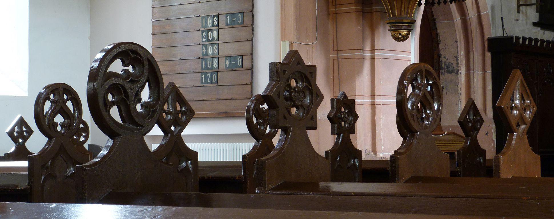 Stadtkirche St. Peter (Sonneberg) Couronnements der Bankwangen