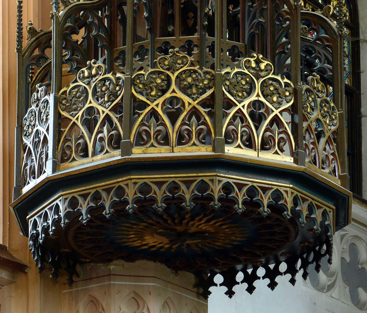 Stadtkirche St. Peter (Sonneberg) Kanzelschalldeckel, Detail. Entwurf Heideloff, Ausführung Paul Gottlieb Hartung