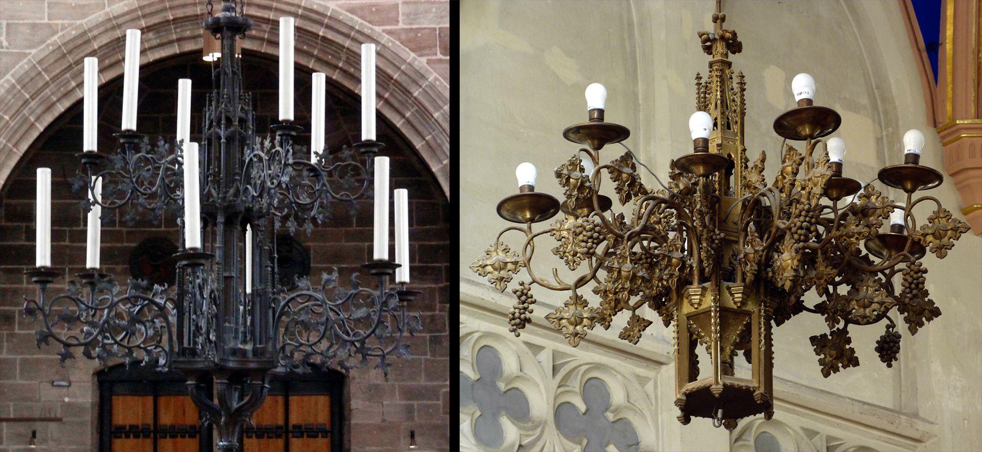 Stadtkirche St. Peter (Sonneberg) Vergleichsbild: Kronleuchter von Peter Vischer in St. Lorenz und Kronleuchter in Sonneberg