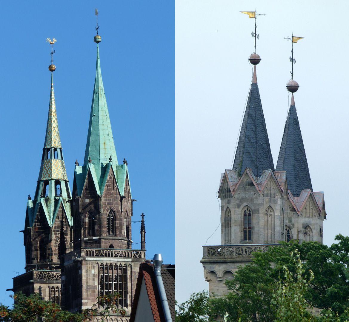 Stadtkirche St. Peter (Sonneberg) Vergleichsbild, Achtorte von St. Lorenz in Nürnberg und St. Peter in Sonneberg