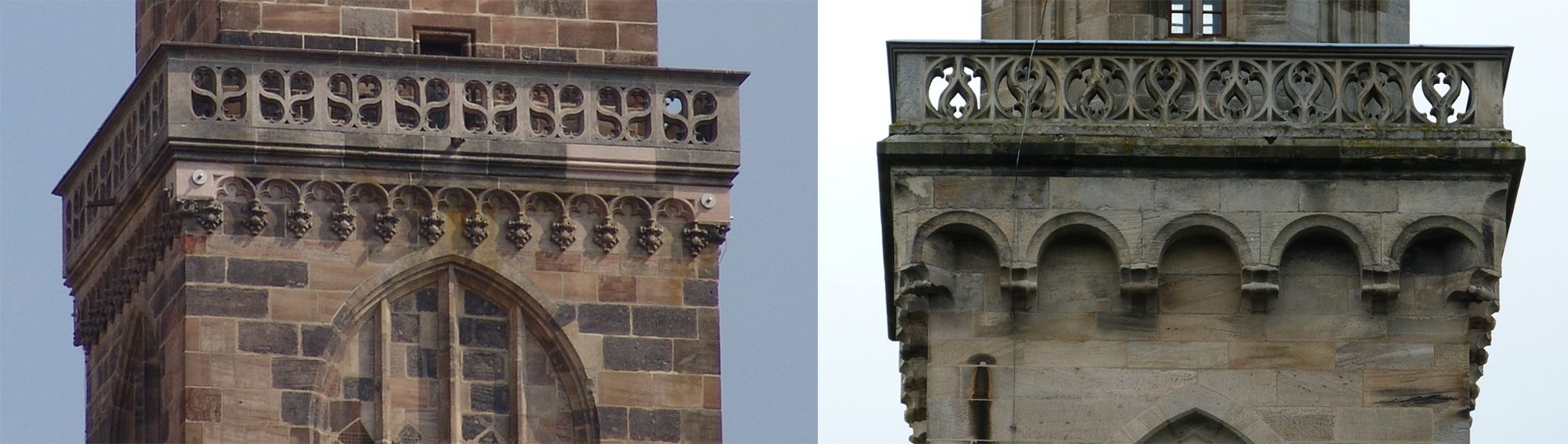 Stadtkirche St. Peter (Sonneberg) Vergleichsbild Turmmaßwerkgalerien von St. Sebald in Nürnberg und St. Peter in Sonneberg
