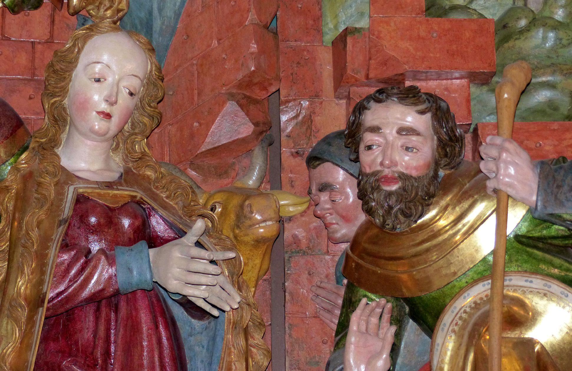 Marienaltar (Salzburg) Mittelschrein, Maria und Hirten