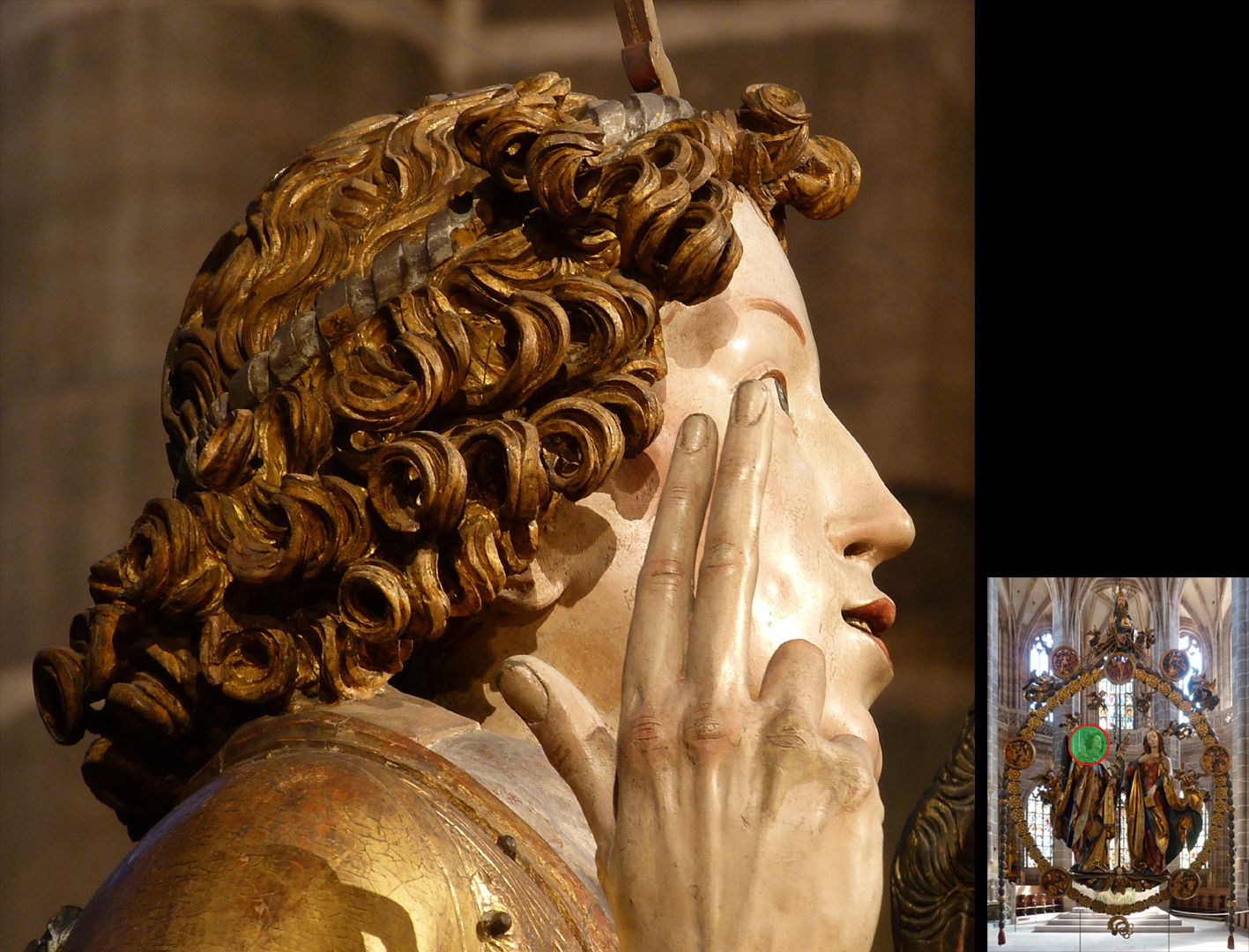 Englischer Gruß Gabriel, Kopf, seitliche Ansicht mit segnender rechten Hand (unten rechts Detaillokalisierung)