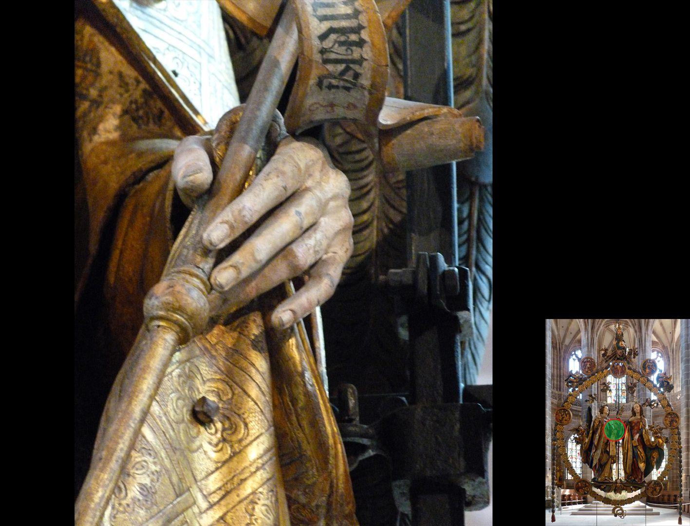 Englischer Gruß Gabriels linke Hand (unten rechts Detaillokalisierung)