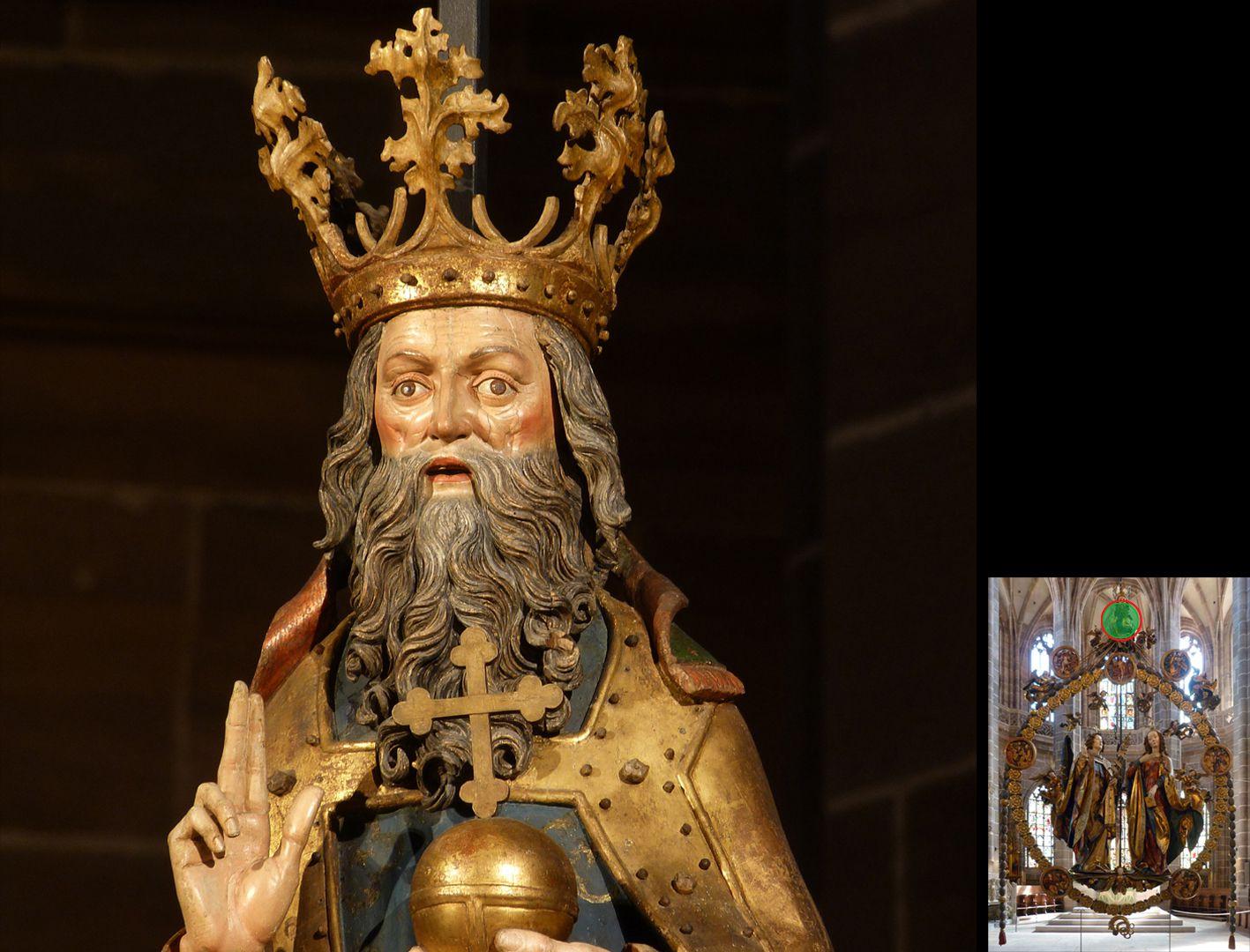 Englischer Gruß Gekrönter Gottvater, segnend und mit Weltkugel (unten rechts Detaillokalisierung)