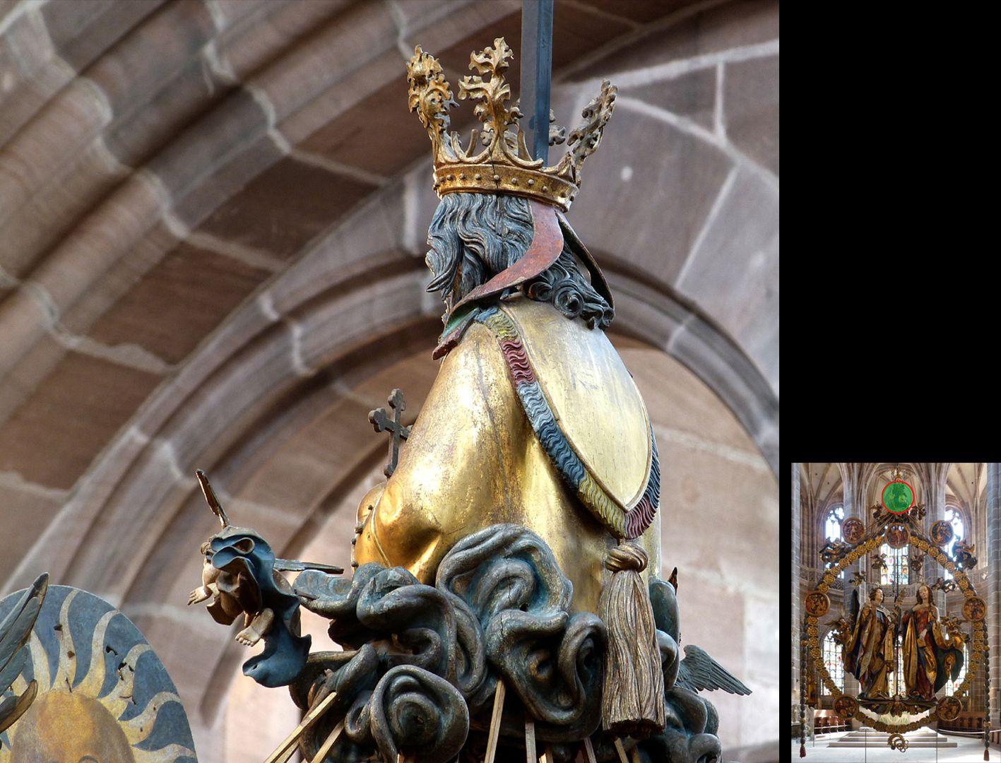 Englischer Gruß Gottvater, seitliche Ansicht von hinten (unten rechts Detaillokalisierung)