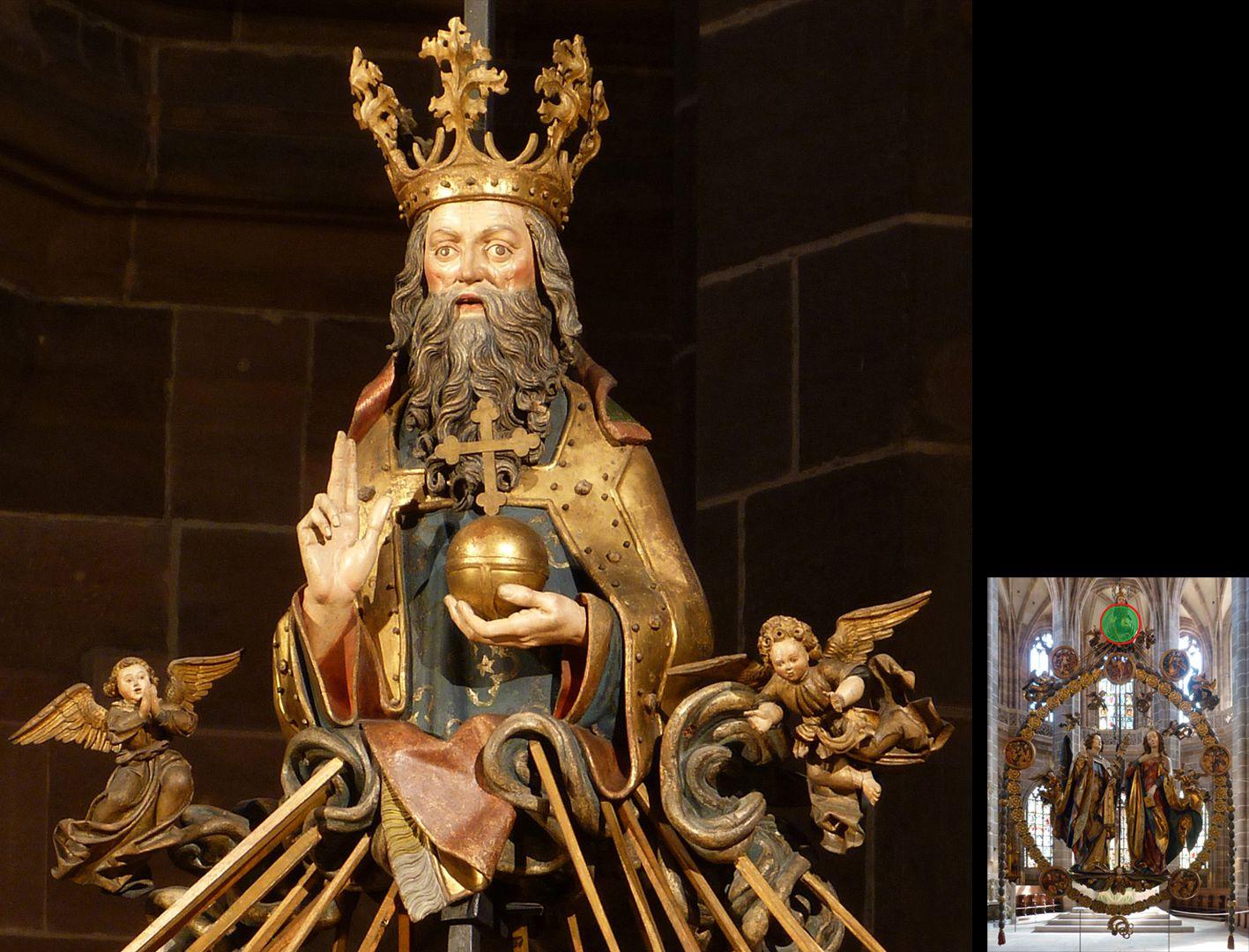 Englischer Gruß Gottvater mit flankierenden Engelchen (unten rechts Detaillokalisierung)