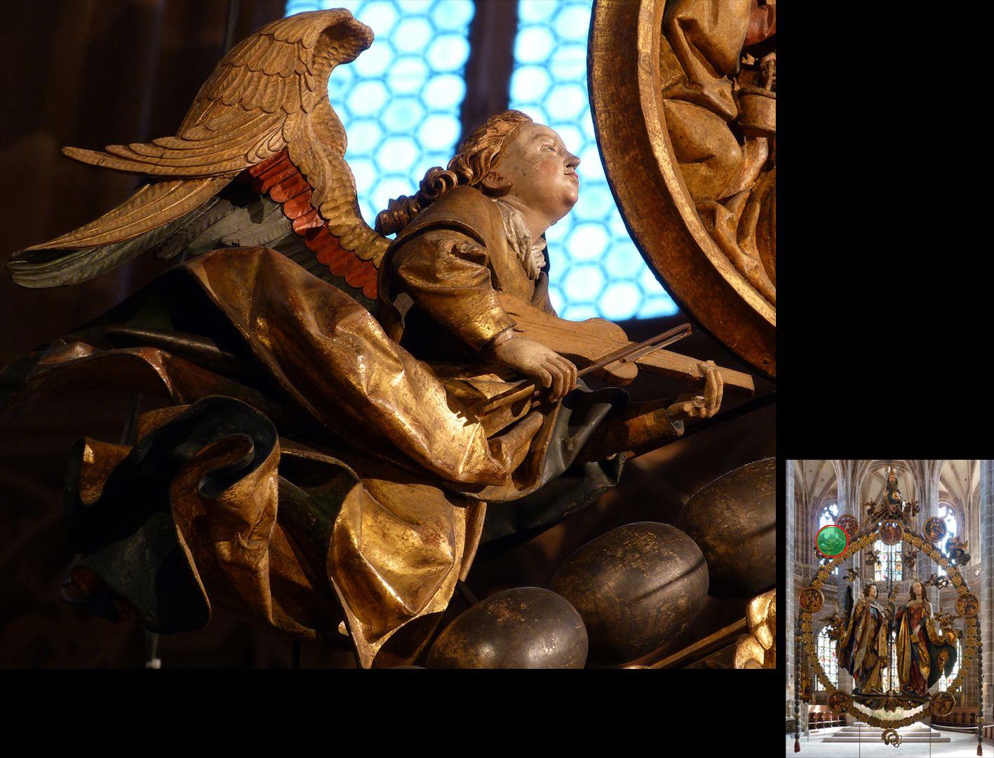 Englischer Gruß Engel mit Fidel (unten rechts Detaillokalisierung)