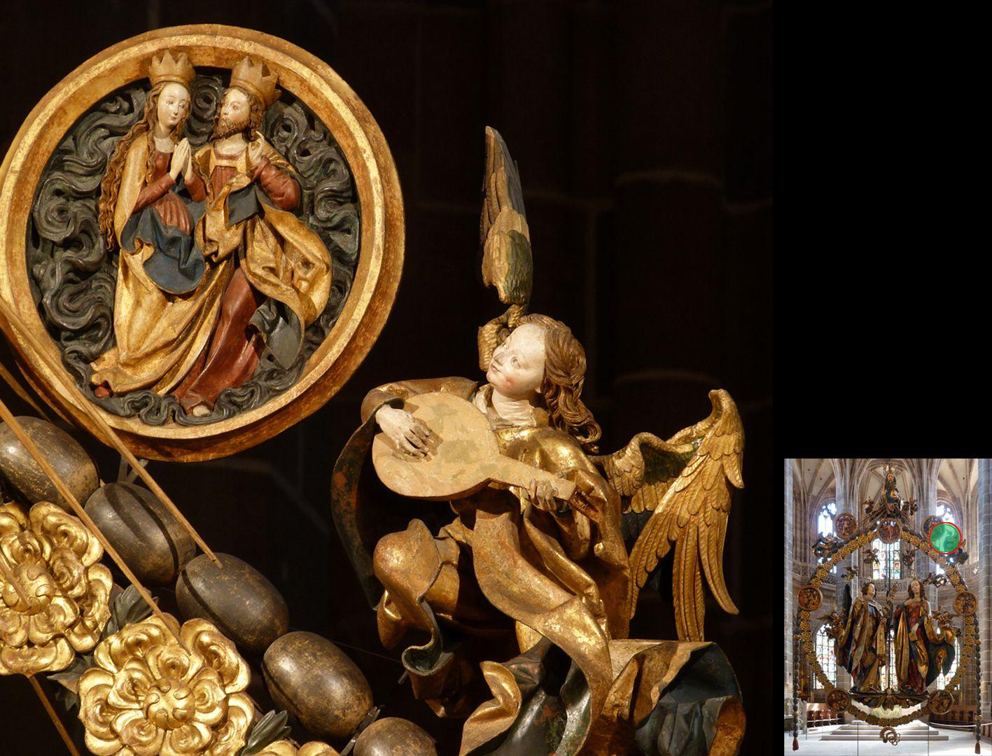 Englischer Gruß Christus-Marienmedaillon und Lautenengel (unten rechts Detaillokalisierung)