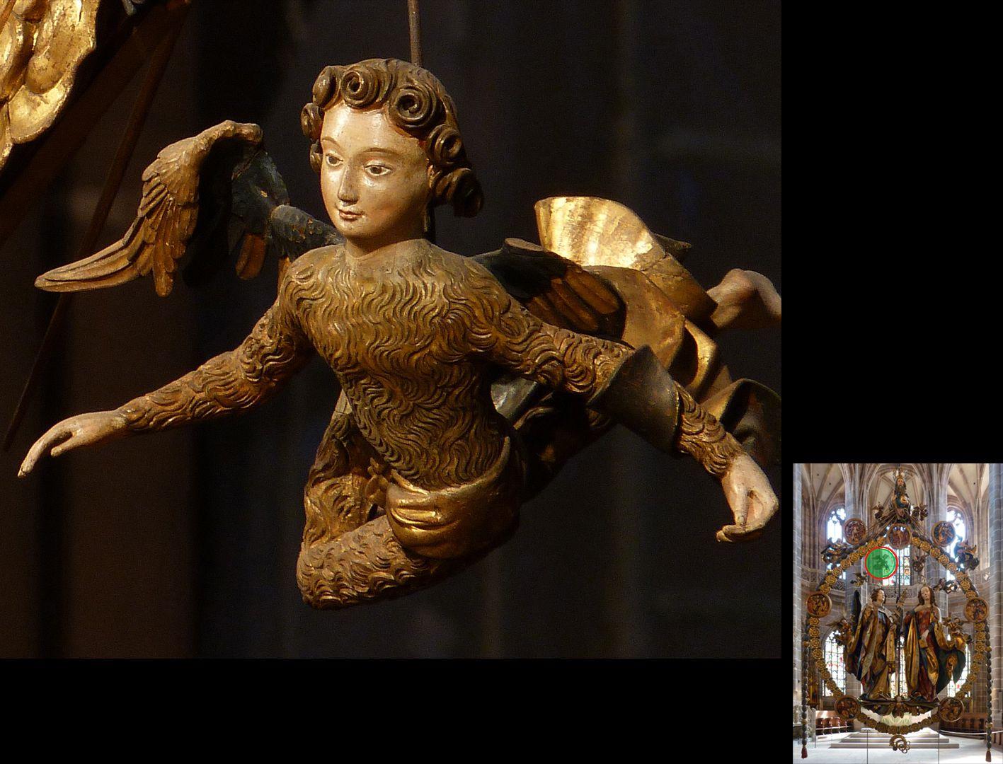 Englischer Gruß Engelchen im Fellkleid (unten rechts Detaillokalisierung)