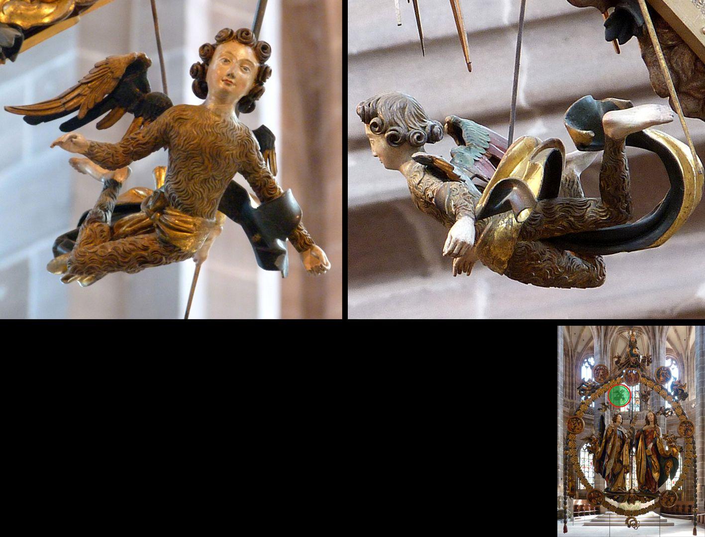 Englischer Gruß Engelchen im Fellkleid von vorne und hinten (unten rechts Detaillokalisierung)